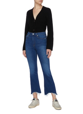 Figure View - Click To Enlarge - RAG & BONE/JEAN - Distressed Hem Skinny Boot Jeans