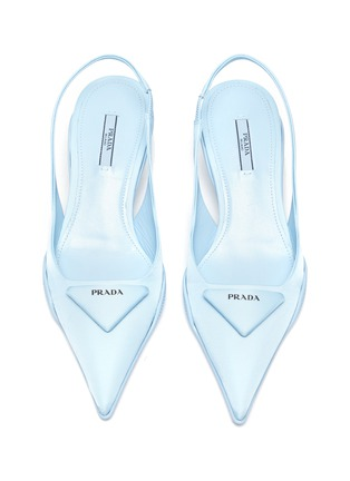 Detail View - Click To Enlarge - PRADA - Rubber Shell Outsole Comma Heel Slingback Pumps