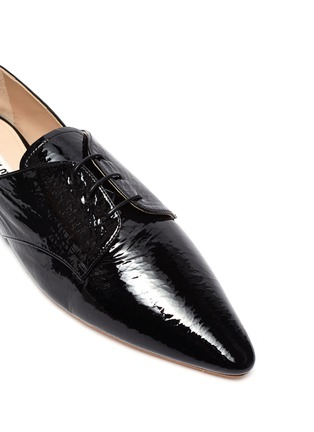 Detail View - Click To Enlarge - MIU MIU - Patent leather oxford shoes