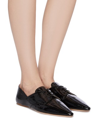 Figure View - Click To Enlarge - MIU MIU - Patent leather oxford shoes