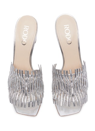 Detail View - Click To Enlarge - RODO - Mesh detail woven leather heeled mules