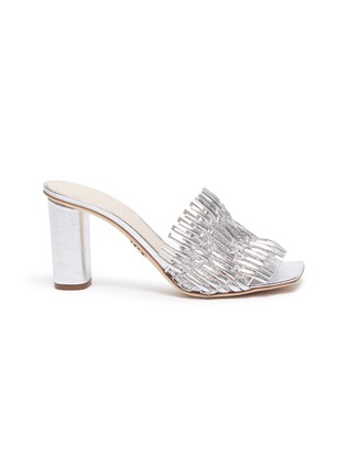 Main View - Click To Enlarge - RODO - Mesh detail woven leather heeled mules