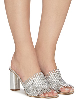 Figure View - Click To Enlarge - RODO - Mesh detail woven leather heeled mules