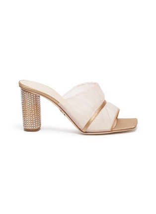 Main View - Click To Enlarge - RODO - Ruched mesh studded heel sandals