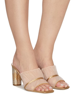 Figure View - Click To Enlarge - RODO - Ruched mesh studded heel sandals