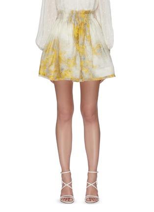 Main View - Click To Enlarge - ZIMMERMANN - Wattle Graphic Print Linen Silk Blend Flip Skirt