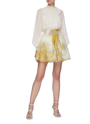 Figure View - Click To Enlarge - ZIMMERMANN - Wattle Graphic Print Linen Silk Blend Flip Skirt