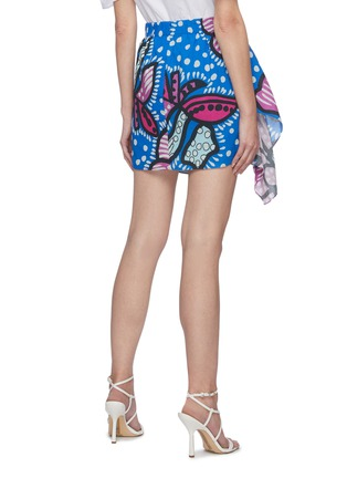 Back View - Click To Enlarge - RHODE RESORT - 'Hannah' Floral Print Ruch Cotton Mini Skirt