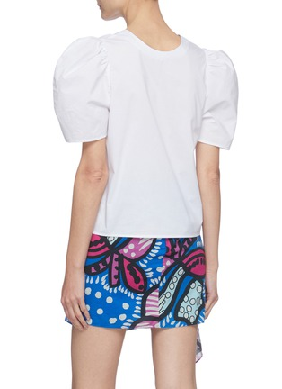 Back View - Click To Enlarge - RHODE RESORT - 'Nisha' Reversible Puff Sleeve Cotton Blouse