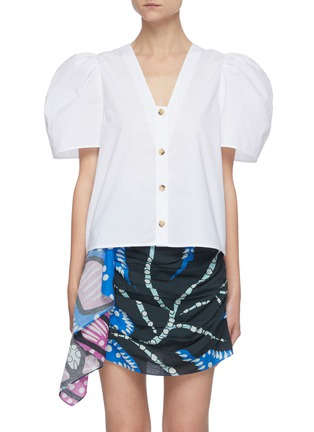 Main View - Click To Enlarge - RHODE RESORT - 'Nisha' Reversible Puff Sleeve Cotton Blouse