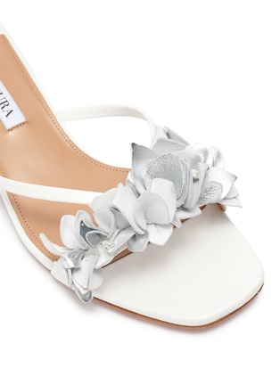 Detail View - Click To Enlarge - AQUAZZURA -  ''Bougainvillea' Floral Appliqué Leather Heeled Sandals