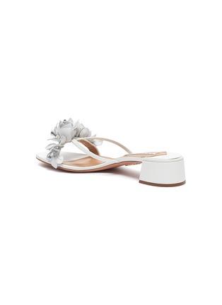 - AQUAZZURA -  ''Bougainvillea' Floral Appliqué Leather Heeled Sandals