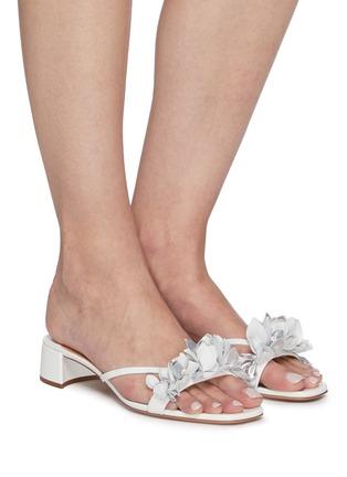 Figure View - Click To Enlarge - AQUAZZURA -  ''Bougainvillea' Floral Appliqué Leather Heeled Sandals