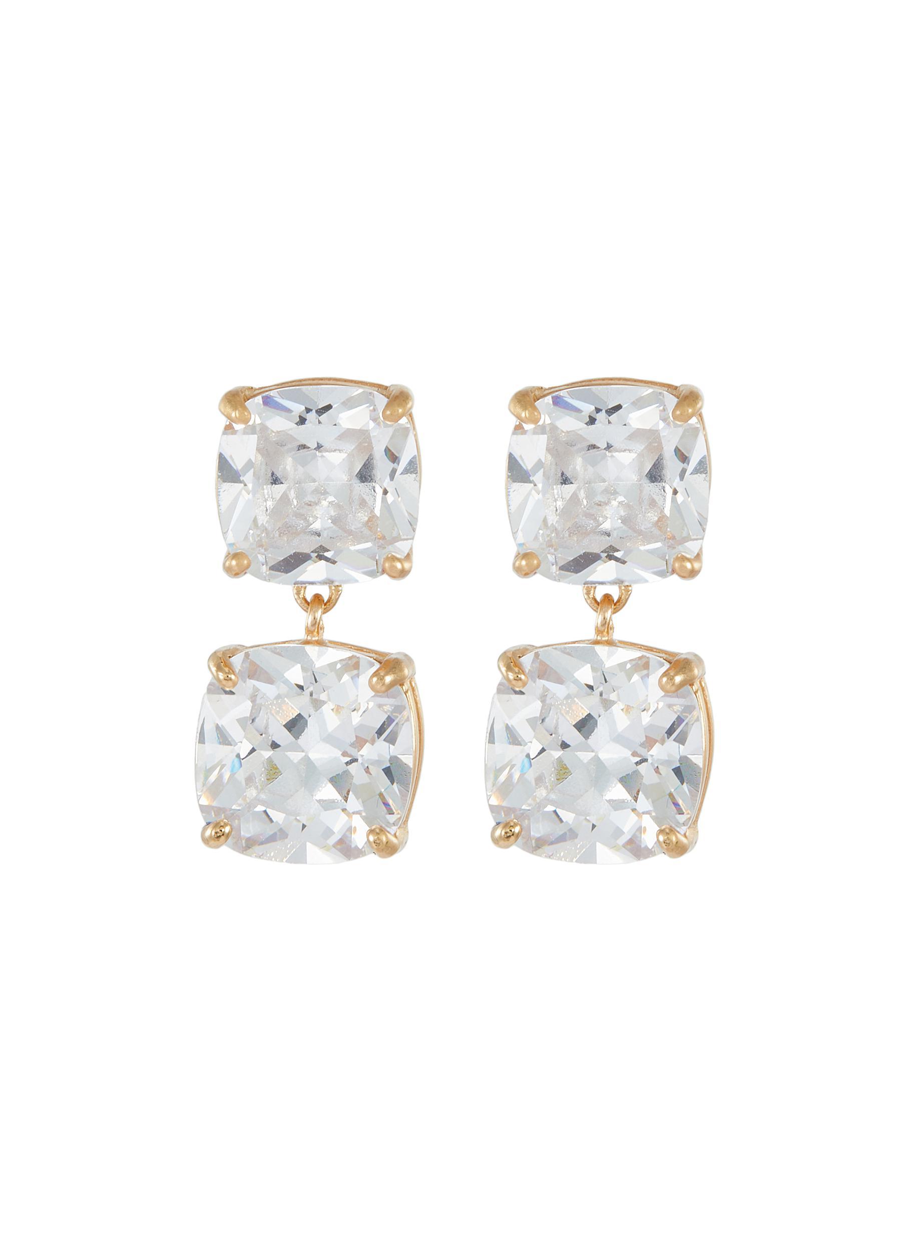 Cushion cubic zirconia dangle earrings