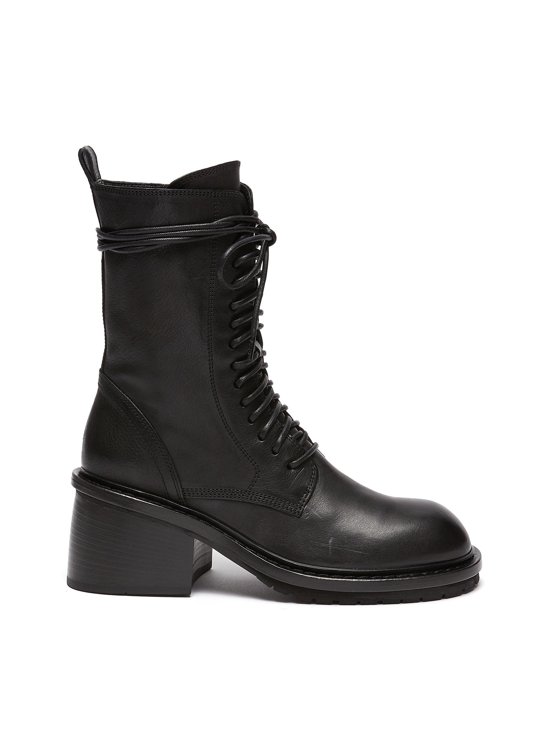 Block heel leather combat boots - ANN DEMEULEMEESTER - Modalova