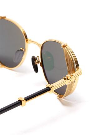 Detail View - Click To Enlarge - BALMAIN - Brigade-1' Side Mesh Panel Metallic Front Round Sunglasses