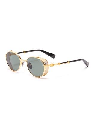 Main View - Click To Enlarge - BALMAIN - Brigade-1' Side Mesh Panel Metallic Front Round Sunglasses