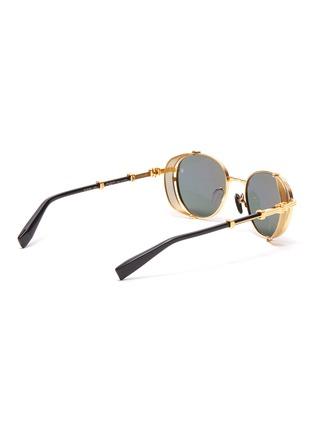 Figure View - Click To Enlarge - BALMAIN - Brigade-1' Side Mesh Panel Metallic Front Round Sunglasses