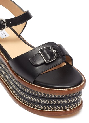 Detail View - Click To Enlarge - GABRIELA HEARST - 'Hill' Buckle Detail Herringbone Stitch Wedge Leather Sandals