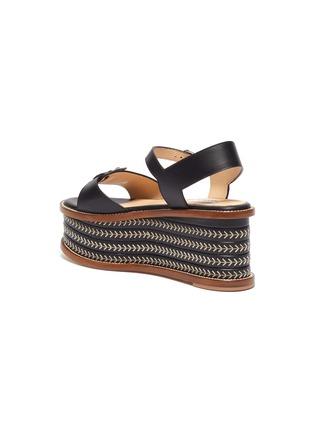 - GABRIELA HEARST - 'Hill' Buckle Detail Herringbone Stitch Wedge Leather Sandals