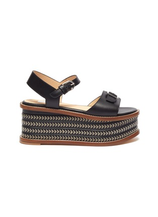 Main View - Click To Enlarge - GABRIELA HEARST - 'Hill' Buckle Detail Herringbone Stitch Wedge Leather Sandals