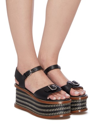 Figure View - Click To Enlarge - GABRIELA HEARST - 'Hill' Buckle Detail Herringbone Stitch Wedge Leather Sandals