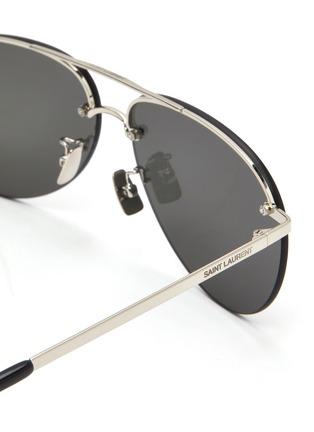 Detail View - Click To Enlarge - SAINT LAURENT - Double bridge metal frame aviator sunglasses