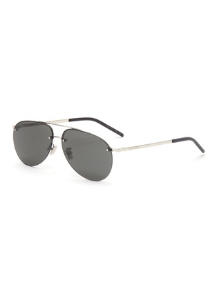 Main View - Click To Enlarge - SAINT LAURENT - Double bridge metal frame aviator sunglasses