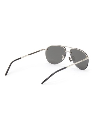 Figure View - Click To Enlarge - SAINT LAURENT - Double bridge metal frame aviator sunglasses