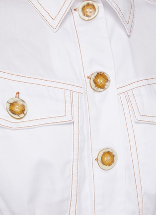 - C/MEO COLLECTIVE - 'Candor' Puff Short Sleeve Belted Cotton Shirt