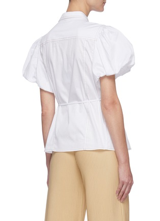Back View - Click To Enlarge - C/MEO COLLECTIVE - 'Candor' Puff Short Sleeve Belted Cotton Shirt
