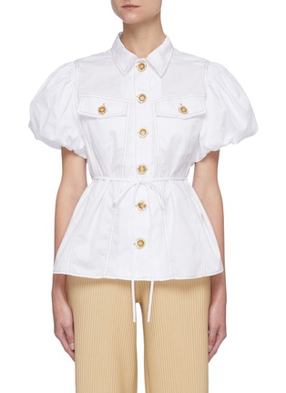 Main View - Click To Enlarge - C/MEO COLLECTIVE - 'Candor' Puff Short Sleeve Belted Cotton Shirt