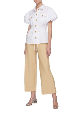 Figure View - Click To Enlarge - C/MEO COLLECTIVE - 'Candor' Puff Short Sleeve Belted Cotton Shirt