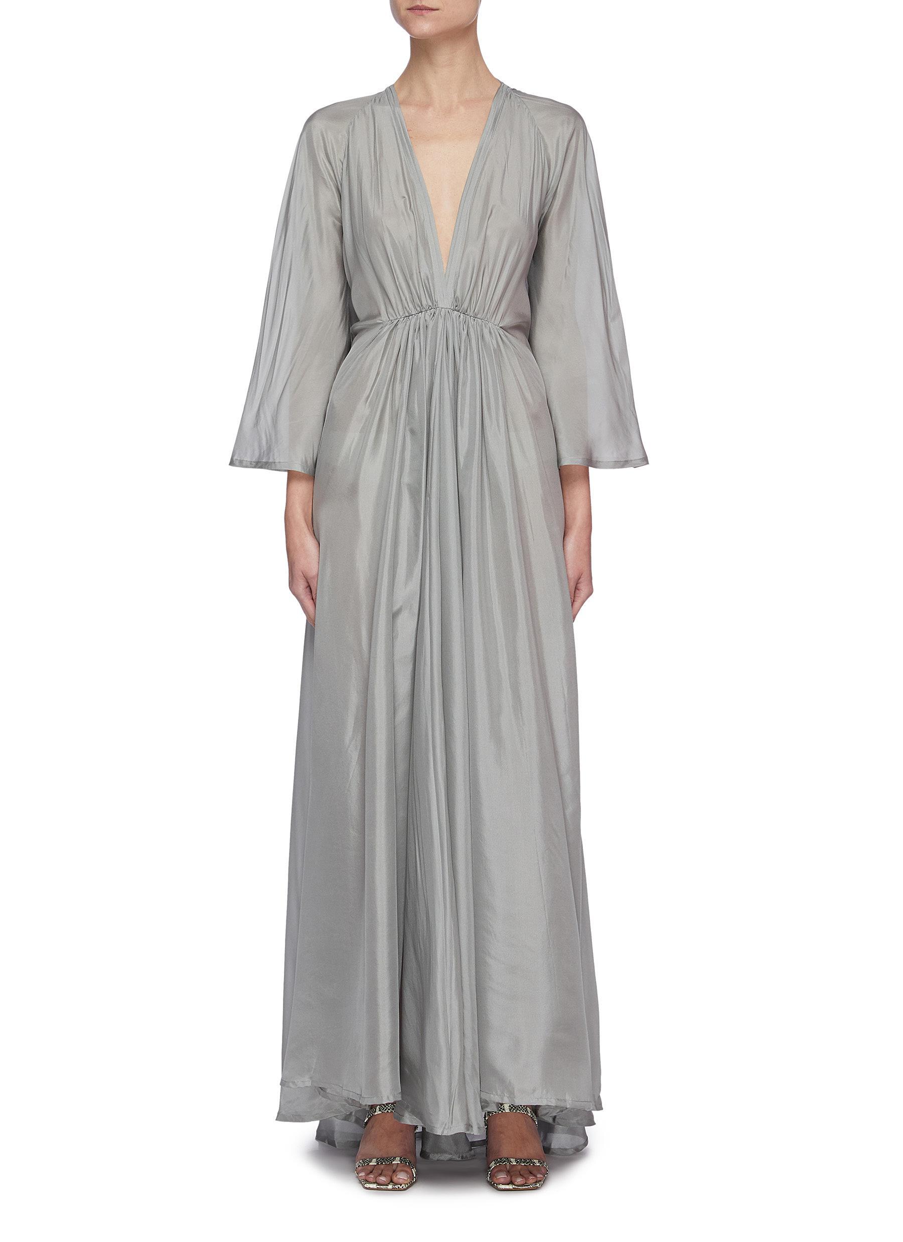 'Clemence' V Back Slit Ruched Front Silk Maxi Dress
