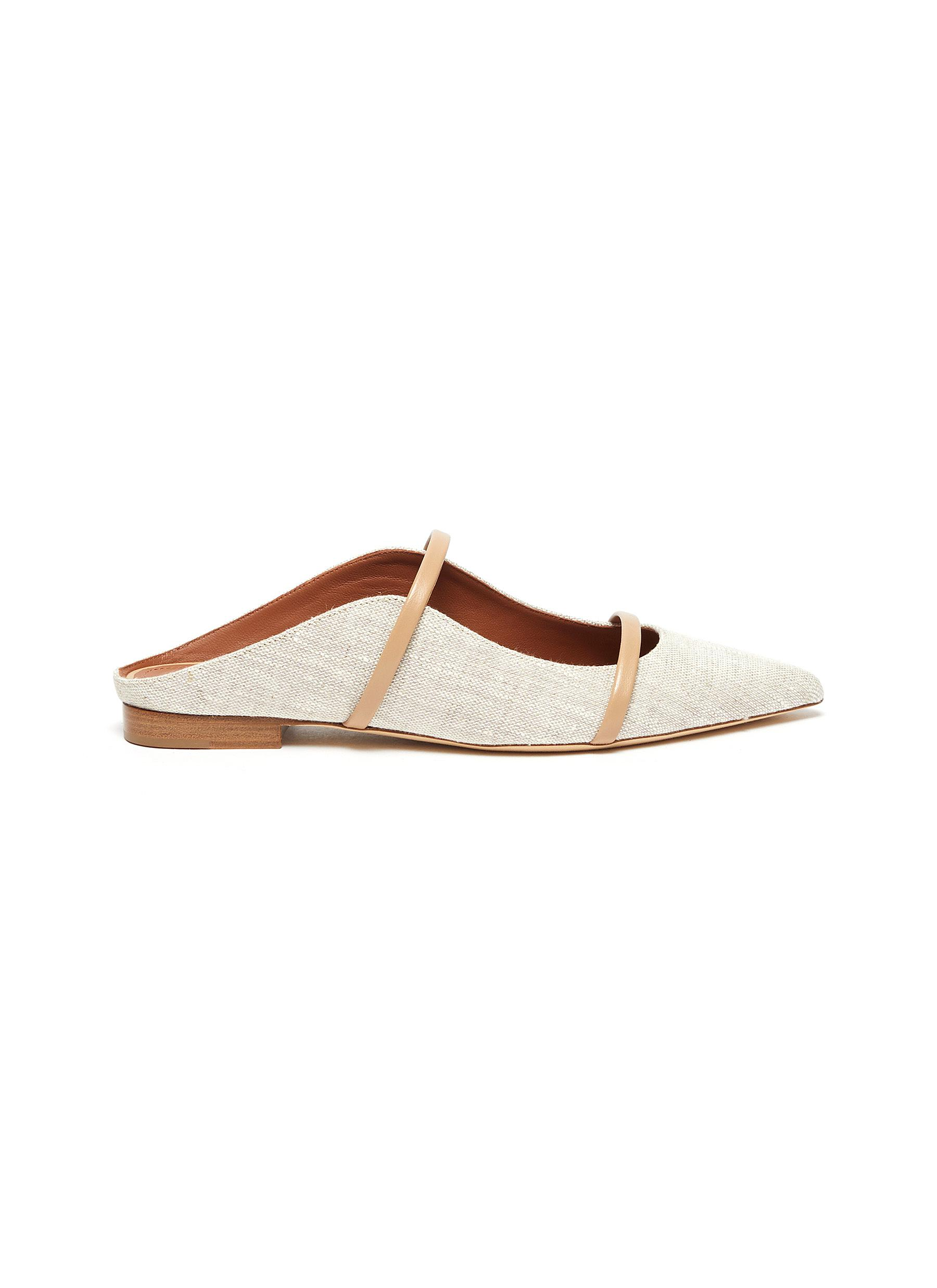 Malone Souliers MAUREEN' DOUBLE THIN LEATHER STRAP LINEN MULES
