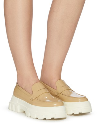 Figure View - Click To Enlarge - PEDDER RED - 'Ginny' chunky platform leather loafers