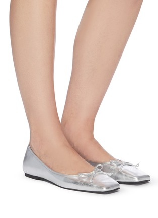 Figure View - Click To Enlarge - PEDDER RED - 'Benedetta' square toe leather ballerina flats