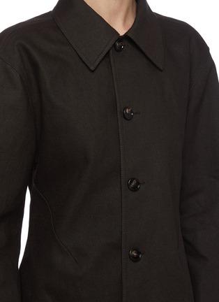Detail View - Click To Enlarge - BOTTEGA VENETA - Crochet Hood Puffed Sleeve Single-breast Long Coat