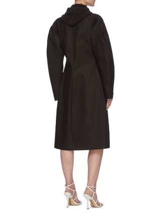 Back View - Click To Enlarge - BOTTEGA VENETA - Crochet Hood Puffed Sleeve Single-breast Long Coat