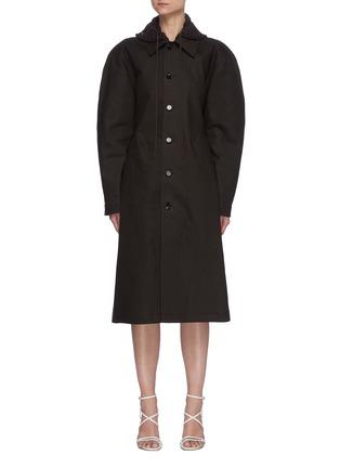Main View - Click To Enlarge - BOTTEGA VENETA - Crochet Hood Puffed Sleeve Single-breast Long Coat