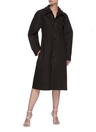 Figure View - Click To Enlarge - BOTTEGA VENETA - Crochet Hood Puffed Sleeve Single-breast Long Coat