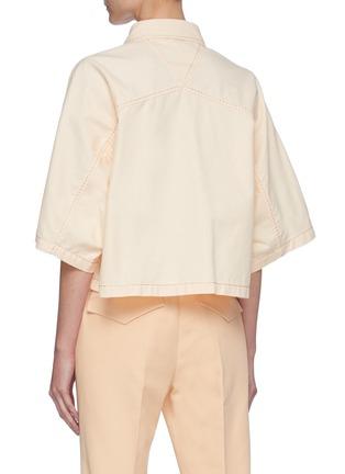Back View - Click To Enlarge - BOTTEGA VENETA - Point Collar Loose Fit Crop Cotton Shirt