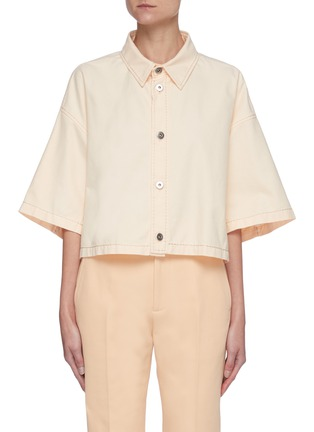 Main View - Click To Enlarge - BOTTEGA VENETA - Point Collar Loose Fit Crop Cotton Shirt