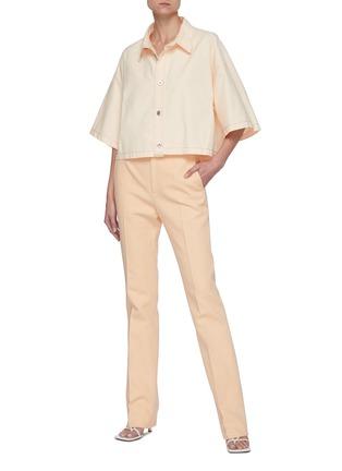 Figure View - Click To Enlarge - BOTTEGA VENETA - Point Collar Loose Fit Crop Cotton Shirt