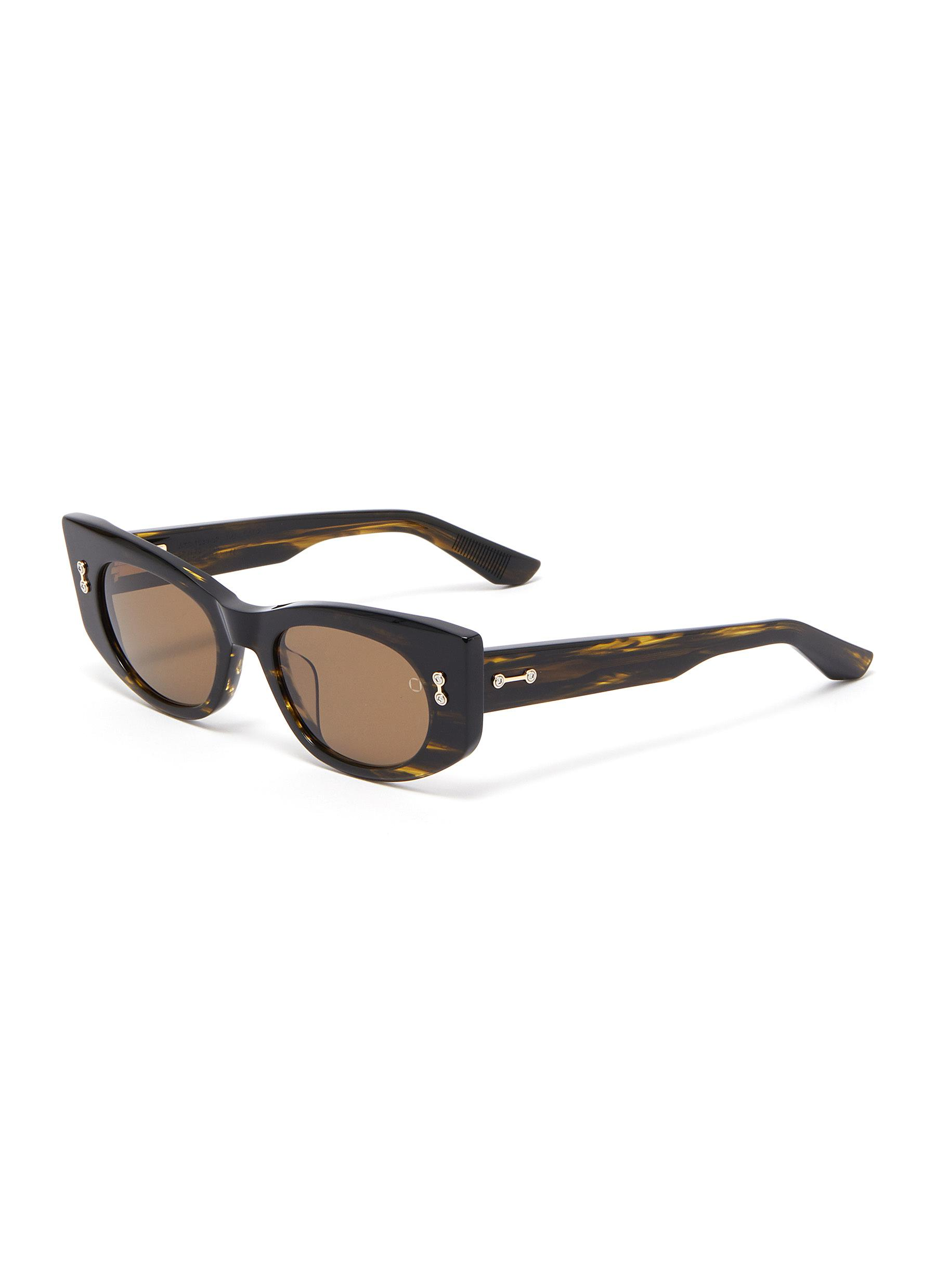 'Aquila' tortoiseshell effect acetate frame oval sunglasses