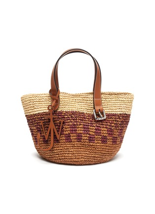 Main View - Click To Enlarge - JW ANDERSON - Anchor charm panel raffia tote