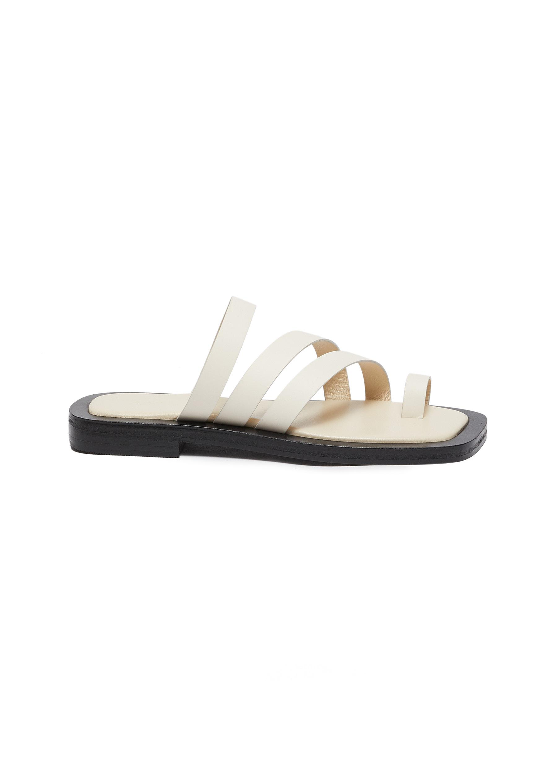 Liam' Triple Strap Toe Ring Leather Flat Sandals