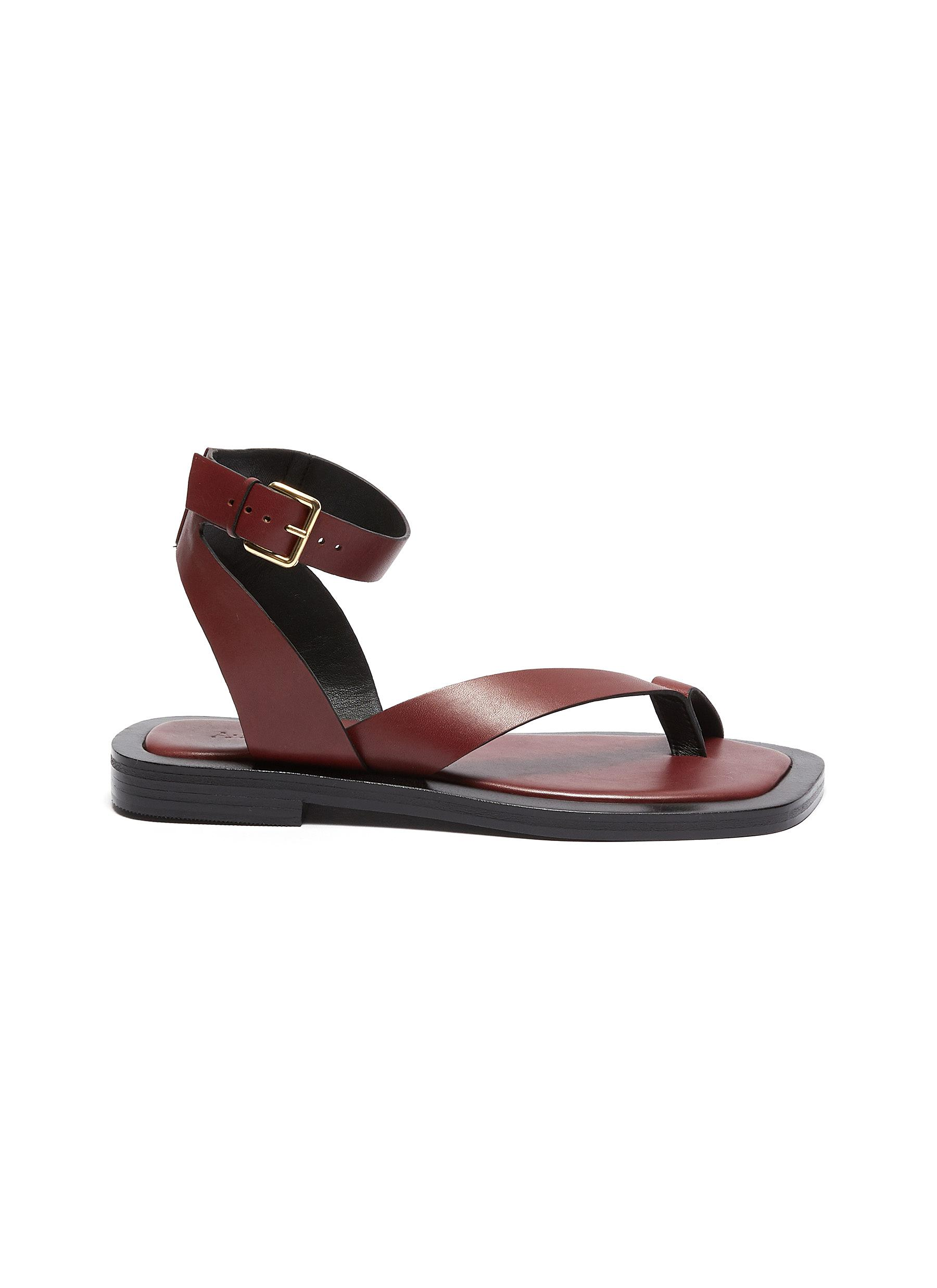 Asher' Buckle Ankle Strap Leather Flat Sandals