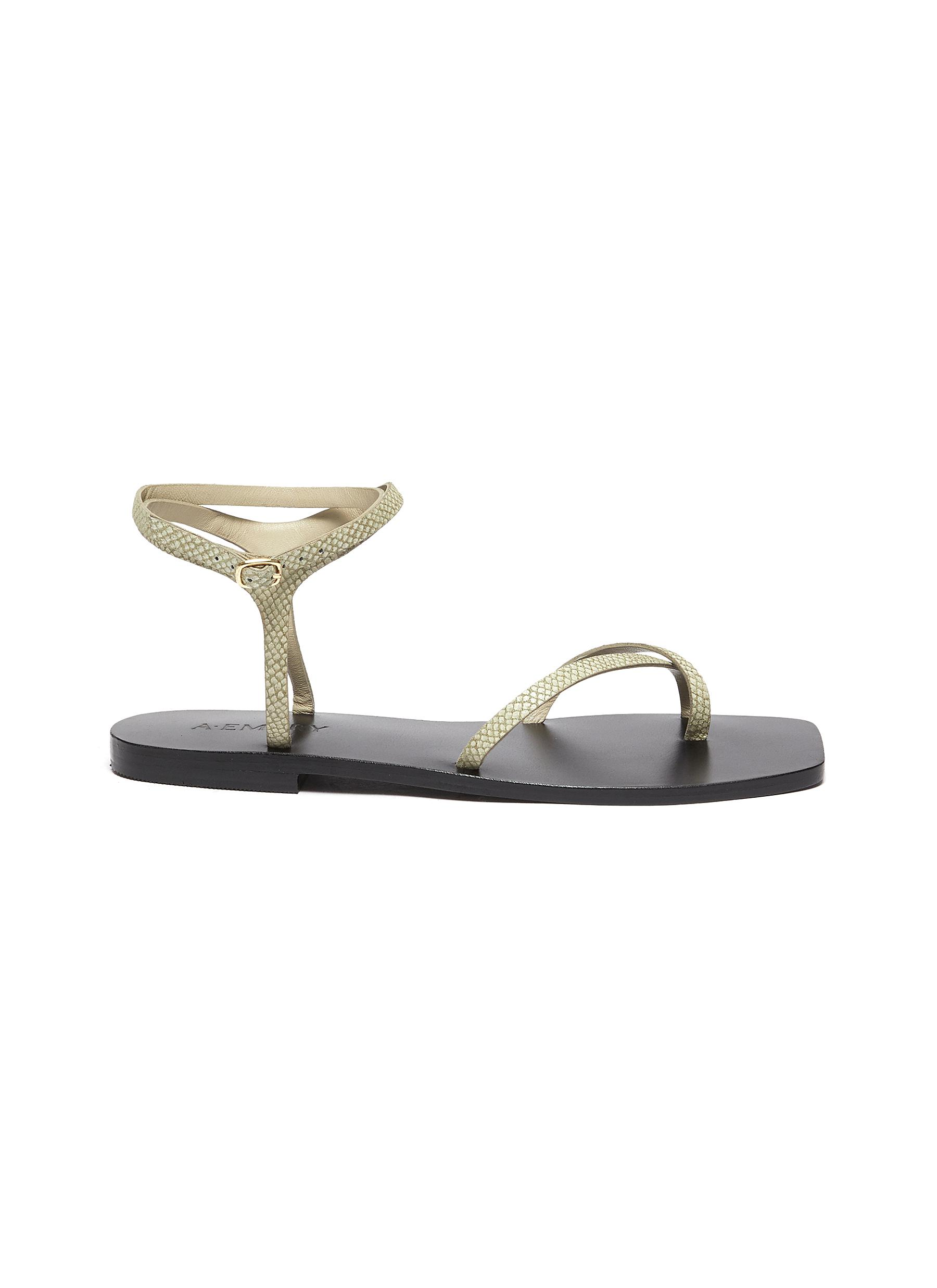 Thia' Ankle Strap Crisscross Leather Flat Sandals