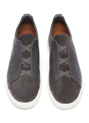 Detail View - Click To Enlarge - ERMENEGILDO ZEGNA - Triple stitch leather suede sneakers